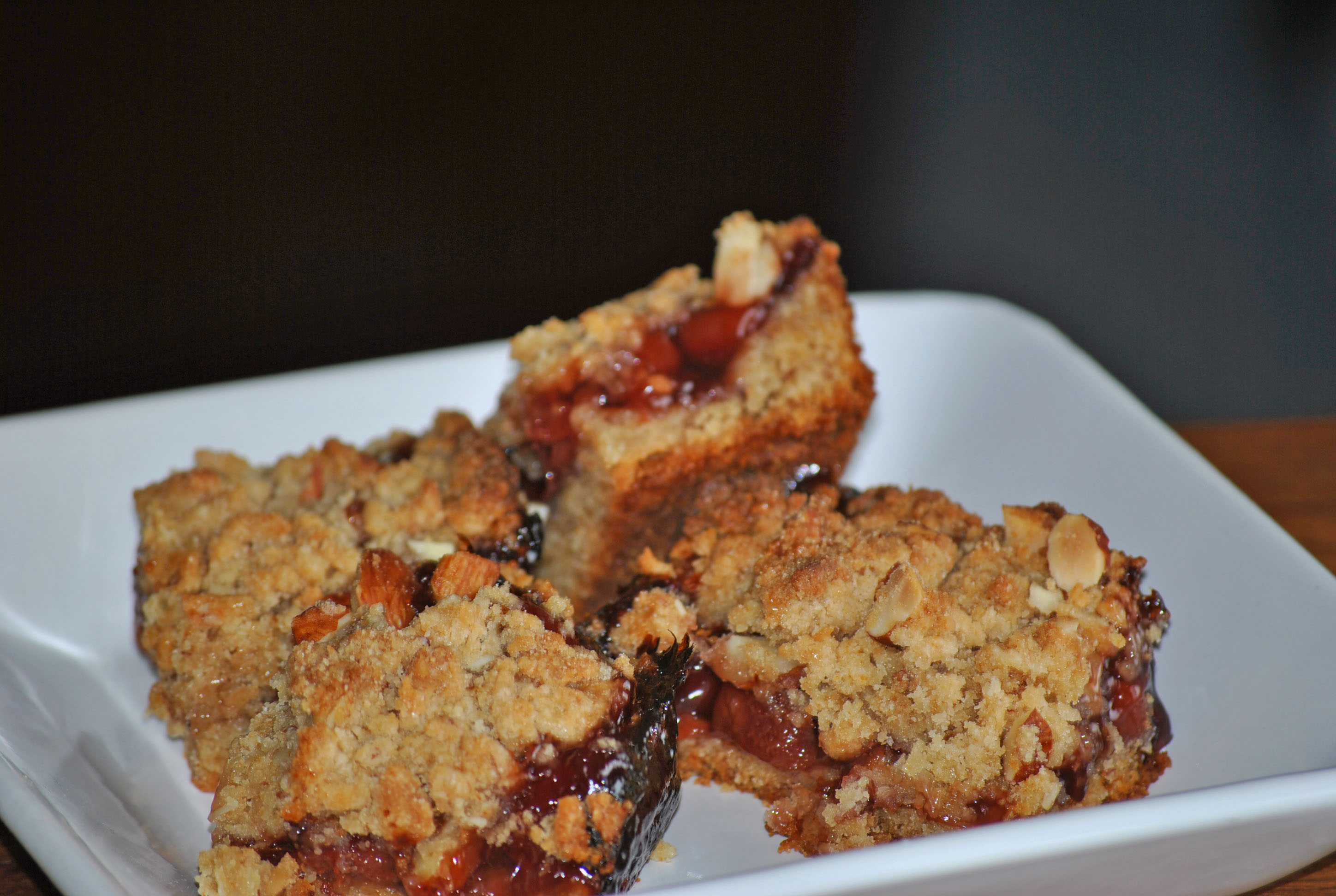 Triple Almond Cherry Crumble Squares Recipe — Dishmaps